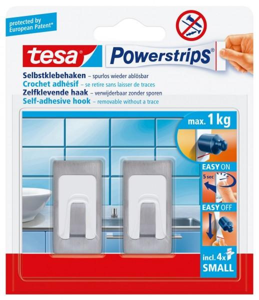 Tesa Power Strips Haken small Rechteck Metall-Kunststoff