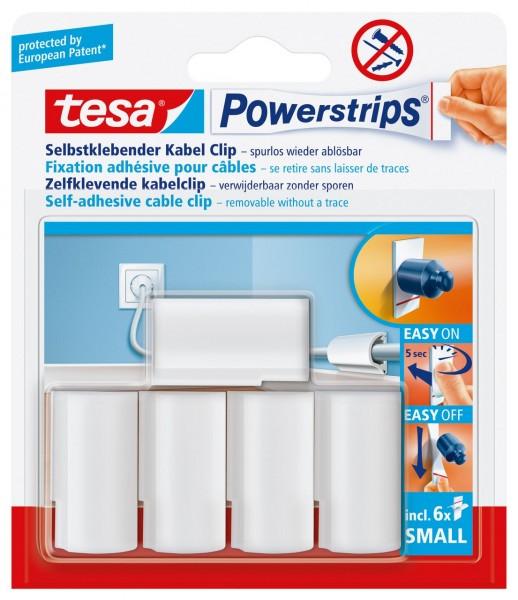 Tesa Powerstrips Kabel-Clip weiss, max. D.8 mm