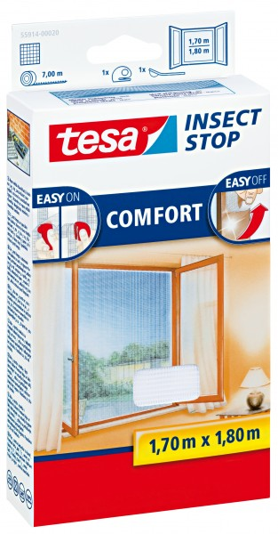 tesa Fliegengitter Comfort Fenster 1,7x1,8m weiß