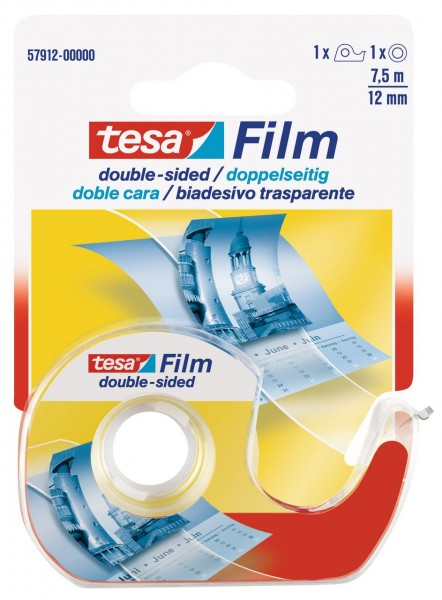Tesafilm doppelseitig 7,5 m x 12 mm Einwegabroller
