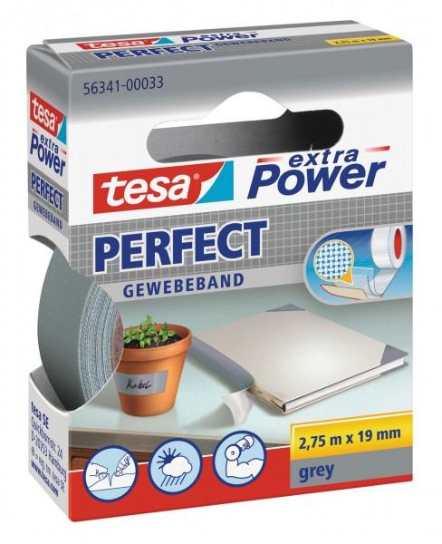 Tesa Extra Power Perfect Gewebeband 2,75 m x 19 mm grau