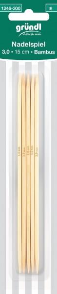 Gründl Nadelspiel Bambus 3,0mm 15cm lang