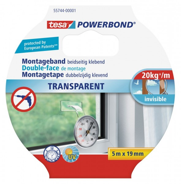 Tesa Powerbond transparent 5 m x 19 mm