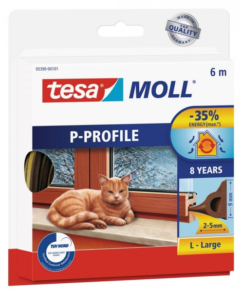 Tesamoll Classic P-Profil 6 m weiss, für Spalten 2-5 mm