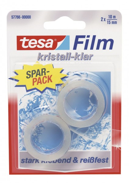Tesafilm Kristall-Klar 10 m x 15 mm, 2 Rollen