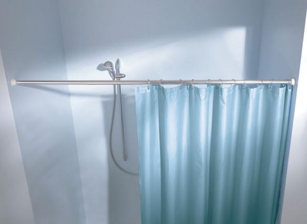 Federstange für Duschvorhang 125x220 cm weiss