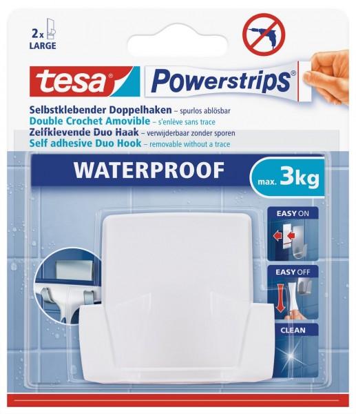 Tesa Powerstrips Waterproof Duohaken Wave, weiss