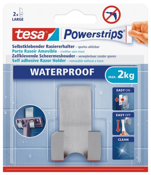 Tesa Powerstrips Waterproof Rasierhalter Zoom, Metall