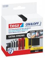 Tesa On + Off extra stark Klettband 50 mm x 1 m schwarz