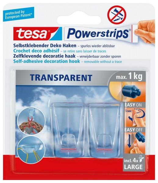 Tesa Powerstrips Deco Haken Large transparent, 2 Haken, 4 Strips