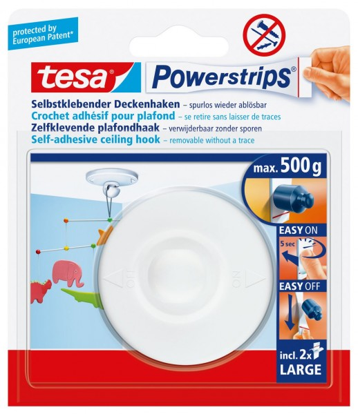 Tesa Powerstrips Deckenhaken weiss, max. 0,5Kg