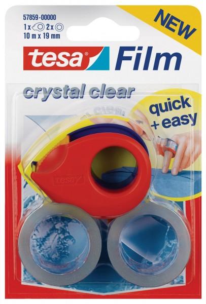 Tesafilm Kristall-Klar mit Mini Abroller 10 m x 19 mm rot-blau, 2 Rollen