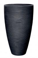Topf mit Rillenoptik D.45xH70 cm anthrazit rund