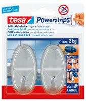Tesa Powerstrips Haken Large Oval Chrom, max. 2Kg