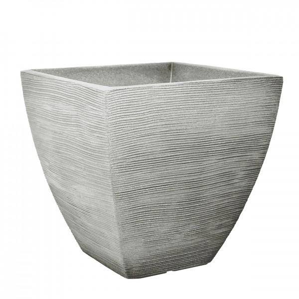 Jelenia Plast Blumenkübel Rillenoptik 40x40x42cm steingrau