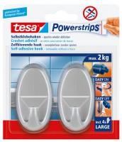 Tesa Powerstrips Haken Large Oval matt Chrom, max. 2Kg
