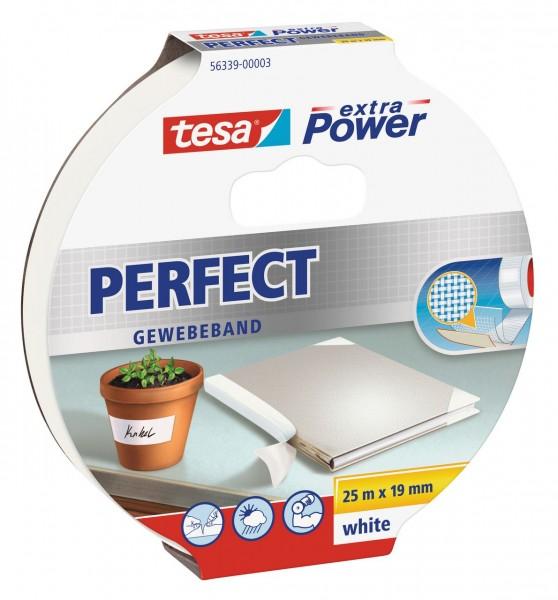 Tesa Extra Power Perfect Gewebeband 25 m x 19 mm weiss