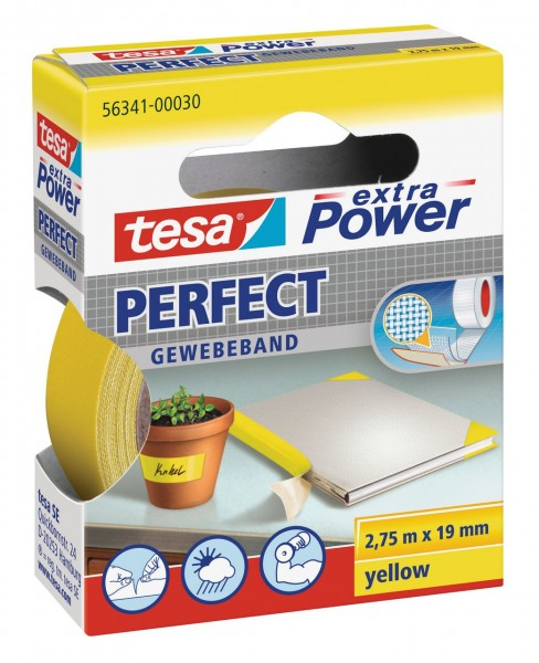 Tesa Extra Power Perfect Gewebeband 2,75 m x 19 mm gelb