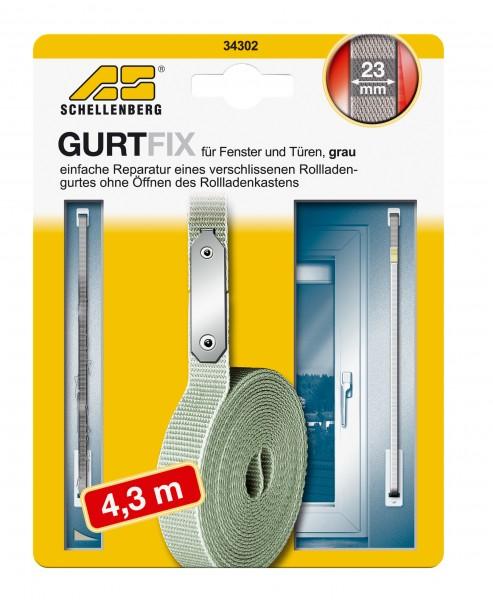 Gurtband Reparaturset 23 mm/4,3 m grau