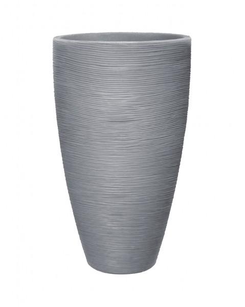 Topf mit Rillenoptik D.45xH70 cm steingrau rund