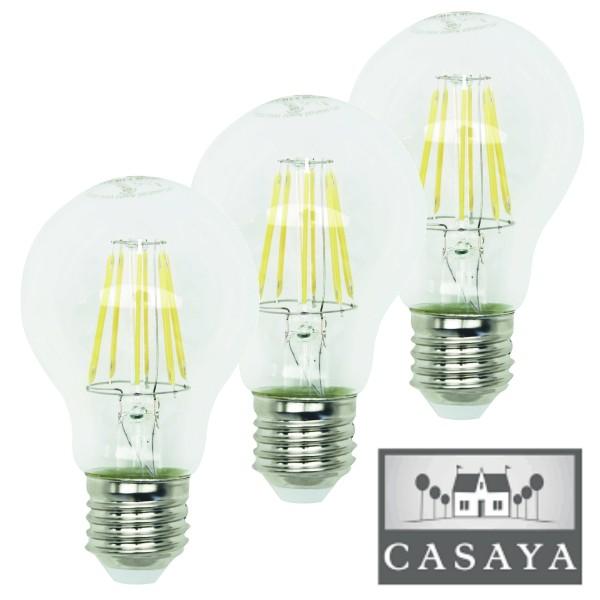 Casaya 3er Pack LED Leuchtmittel Birnenform klar 8W