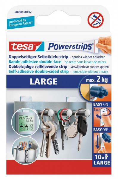 Tesa Powerstrips Large 10 Strips, max. 2Kg