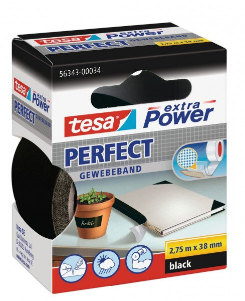 Tesa Extra Power Perfect Gewebeband 2,75 m x 38 mm schwarz
