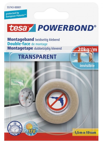 Tesa Powerbond transparent 1,5 m x 19 mm