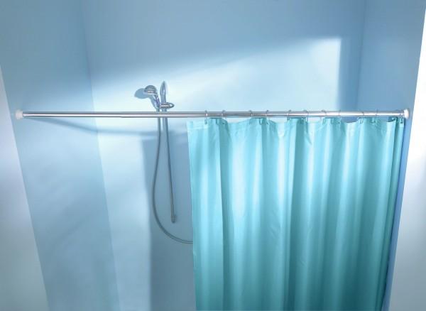 Federstange für Duschvorhang 125x220 cm chrom-poliert