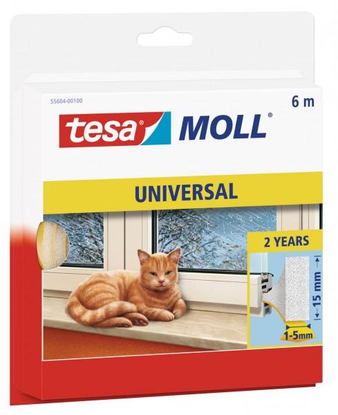 Tesamoll Universal Schaumstoff 6 m x 15 mm weiss, für Spalten 1-5 mm