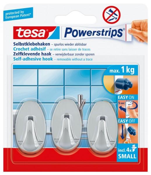 Tesa Powerstrips Haken Small Oval Chrom, max. 1Kg